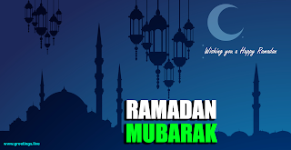 Eid Ramadan Mubarak  wishing a happy ramadan hanging lanterns mosque crescent moon