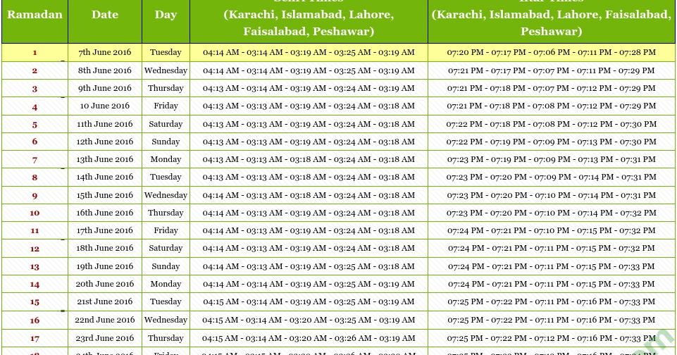 Calendar Ramzan : Ramadan calendar pakistan fli