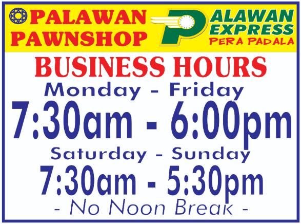palawan express pera padala operating hours