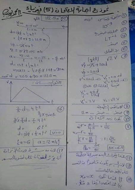اجابات امتحان الفيزياء الصف الاول الثانوي