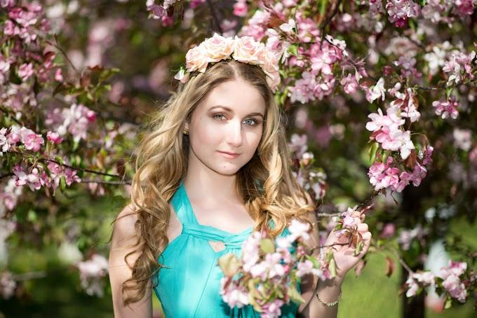 Beautiful Girl Standing Under Gentle Tree | HD Stock Image