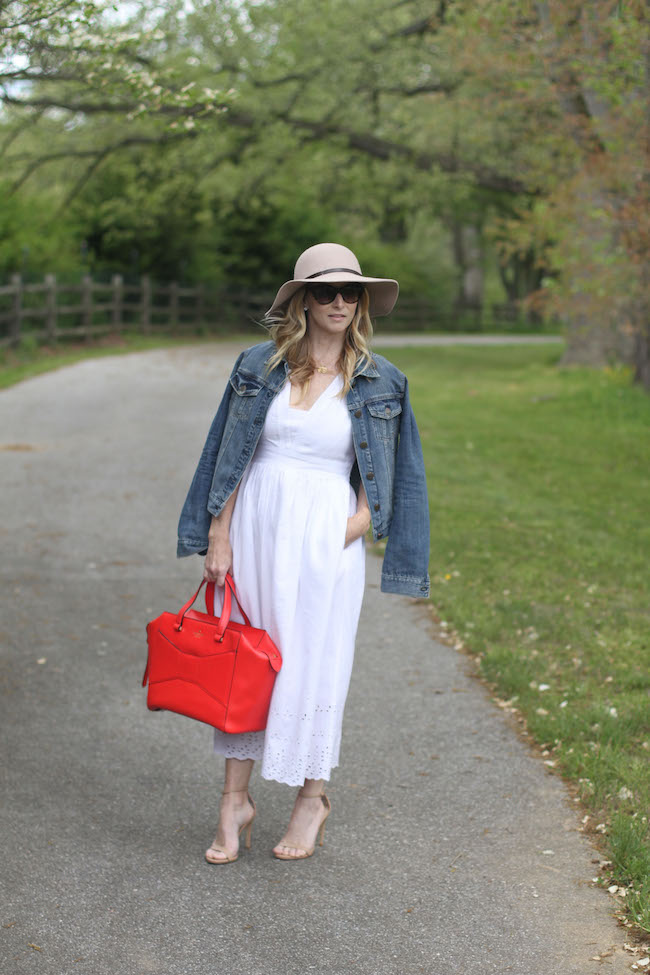 floppy hat, jcrew jean jacket, white summer dress, red tote bag