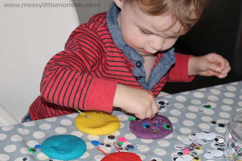 playdough monster activity for preschoolers
