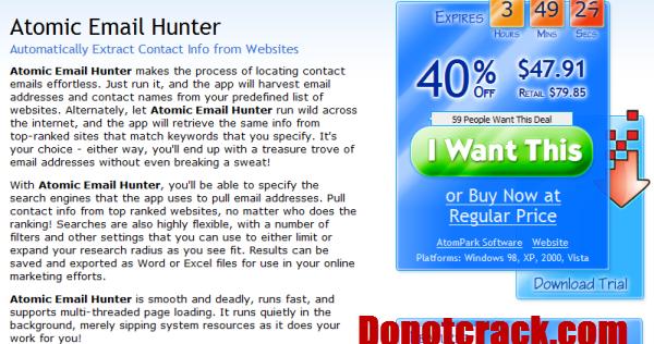 Atomic email hunter discount coupon