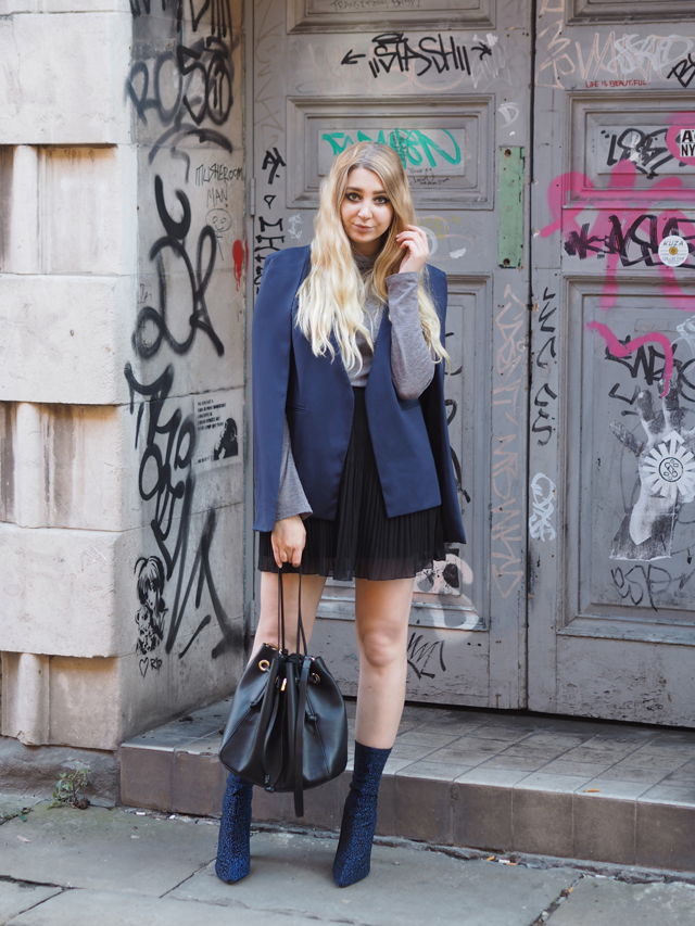 how to wear cape blazer fashion blogger