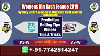 Who will win Today WBBL 2019, 26th Match BHW vs SSW 26th, WBBL T20 2019