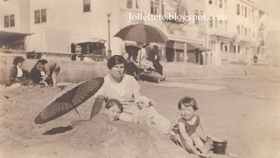 Sheehan woman with John Jr and Bob about 1921 beach in New York https://jollettetc.blogspot.com