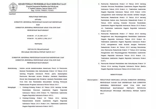 Juklak PIP (Program Indonesia Pintar) Tahun 2017