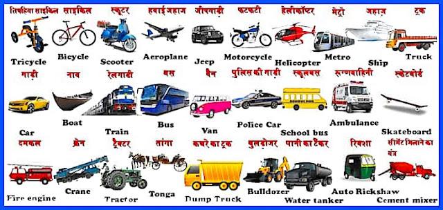 Vehicles name in Hindi and English
