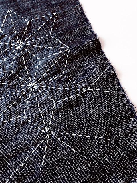 Sashiko stitching on indigo cloth, hemp leaf (asa no ha) pattern © Laura Luchtman