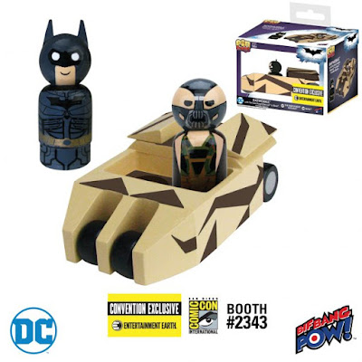 San Diego Comic-Con 2017 Exclusive DC Comics Pin Mate Wooden Figure Sets by Bif Bang Pow! x Entertainment Earth - The Dark Knight Camouflage Batmobile with Batman & Bane