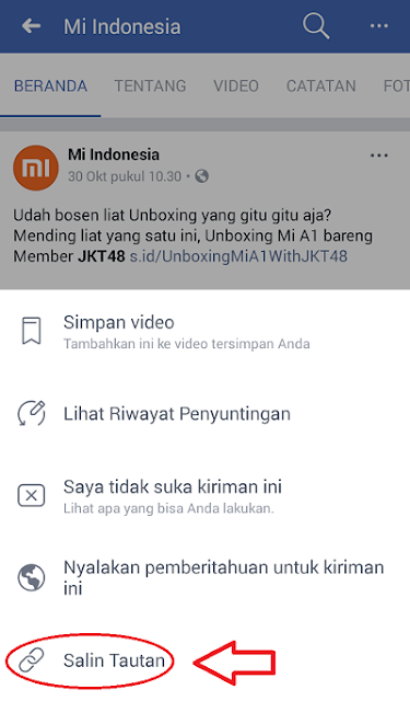 Salin Tautan Video Facebook