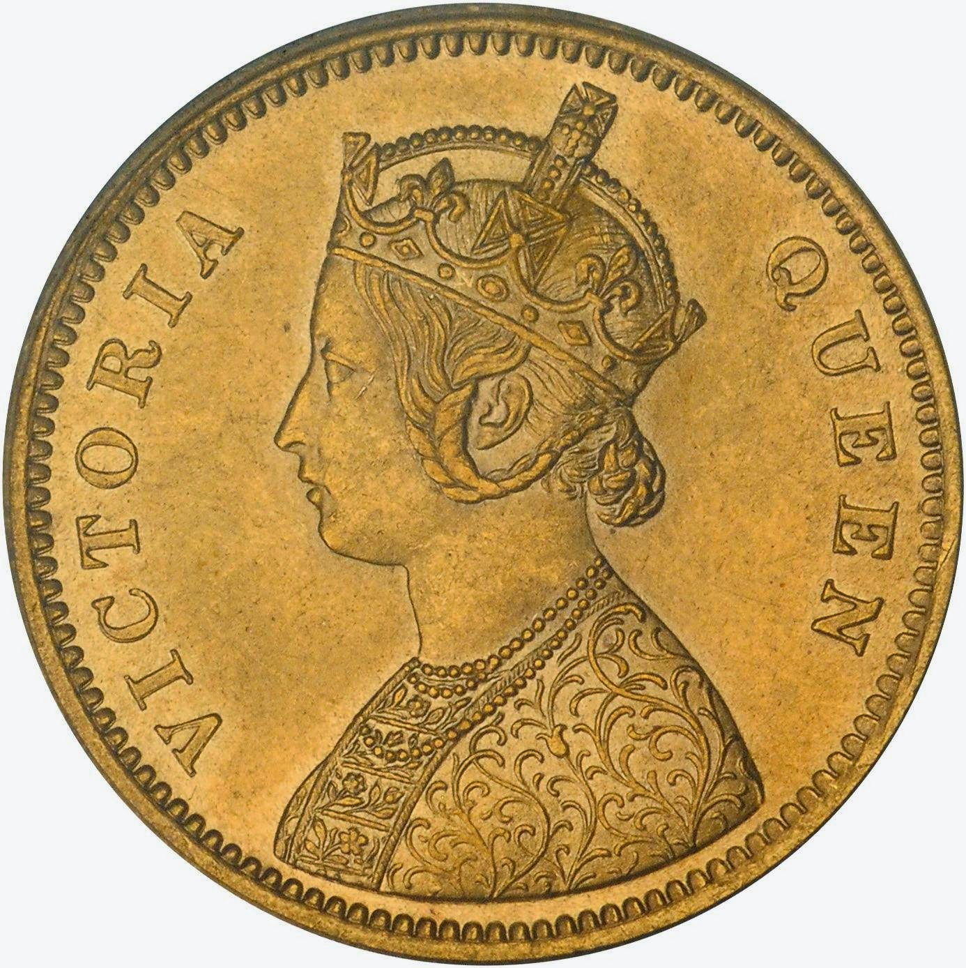 India Gold Mohur of Queen Victoria 15 Rupees coin
