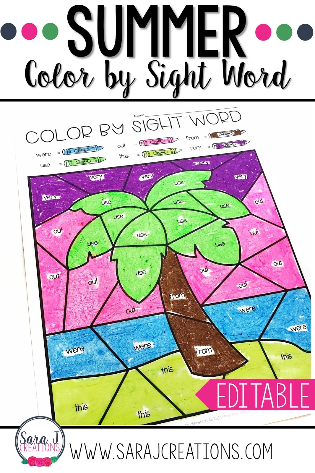 Editable Summer Color by Sight Word pages!!!! This is exactly what you need to make practicing sight words fun and meaningful for your students. You can easily differentiate for each student with a few quick clicks. No matter what sight words your students are working on, you can create personalized coloring worksheets in a snap! Includes summer and patriotic themed pictures.