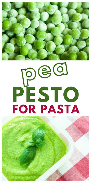 pea pesto made with frozen peas