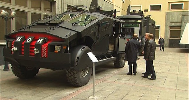 "Russian Army Rolls Out Futuristic ""Batmobiles"" Putin Inspects Them"