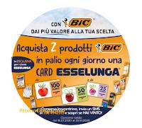 Logo Con Bic puoi vincere una card Esselunga al giorno 2020 : 100 card fino a 100 euro