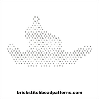 Click for a larger image of the Crooked Witch Hat Halloween bead pattern word chart.