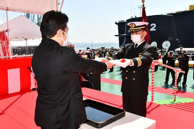 Ceremonia de puesta en servicio del Js Toryu (Fuente: Jmsdf)