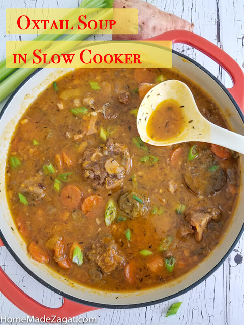 A filling oxtail soup made in the slow cooker making a delicious broth and a tender cooked meat.
