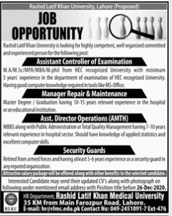 Rashid Latif Khan University Lahore New Jobs