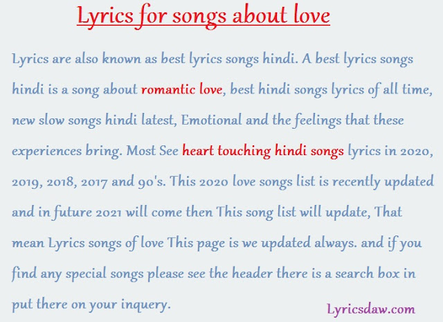 Lyrics for songs about love