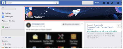 Sección Explorar en Facebook - MasFB