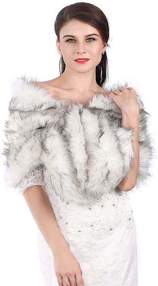 Bride Faux Fur Cape Wraps Shawls Shrug Scarf for Winter Wedding