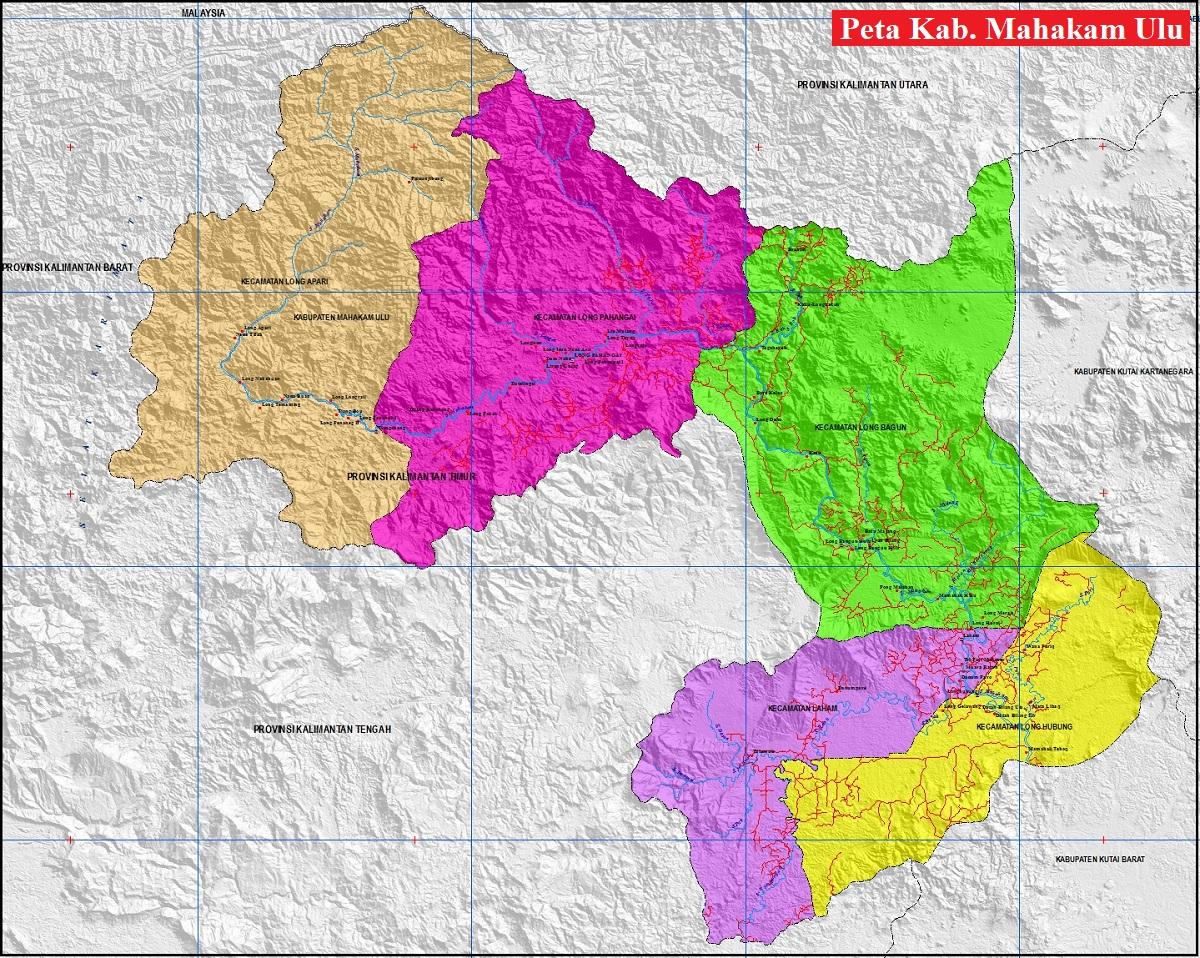 Peta Kabupaten Mahakam Ulu