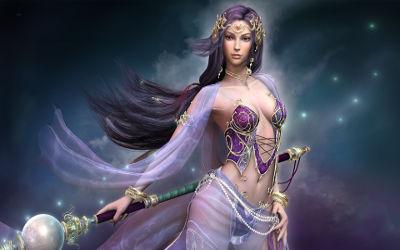 Femme Magicienne Sexy en Violet - Fond d'Écran en Full HD 1080p