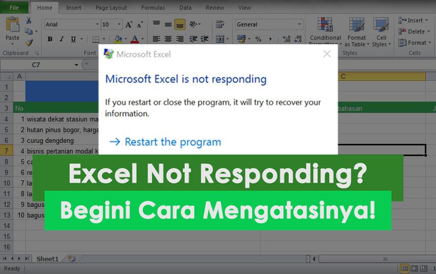 cara mengatasi excel not responding