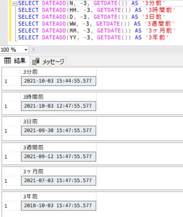 SQL Server の DATEADD