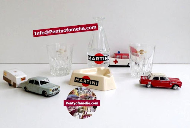 Retro French Martini liquor bottle in red & black Ads, Glass carafe, ashtray and glasses