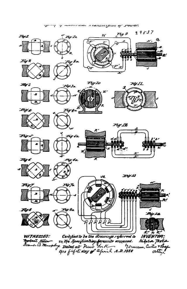 NIKOLA TESLA CANADIAN PATENT 29537 - SYSTEM OF ELECTRICAL TRANSMISSION OF POWER