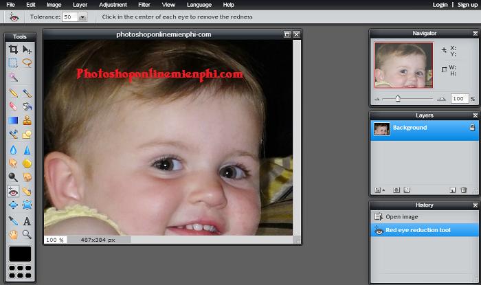 Sửa ảnh bị mắt đỏ nhanh với Photoshop Online