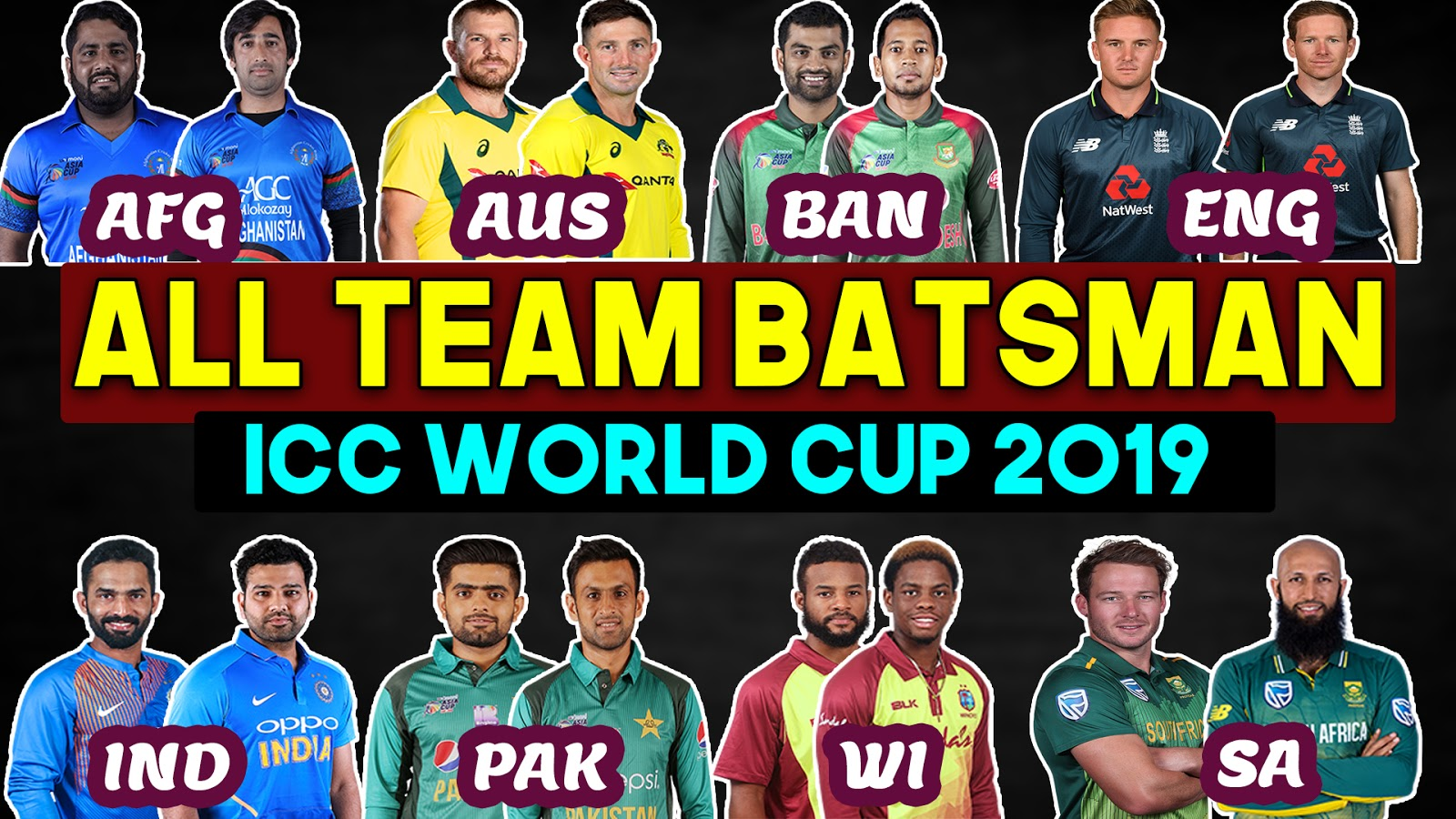 ICC World Cup 2019 All Team Batsman List | ALL Teams Top Batsmen