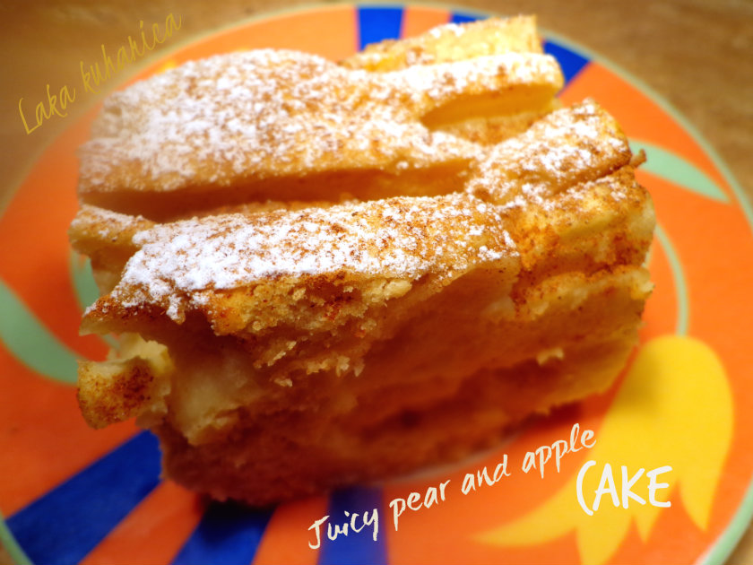 Juicy pear and apple cake by Laka kuharica: delicious and moist cake is barely bound together with slices of juicy fruit.