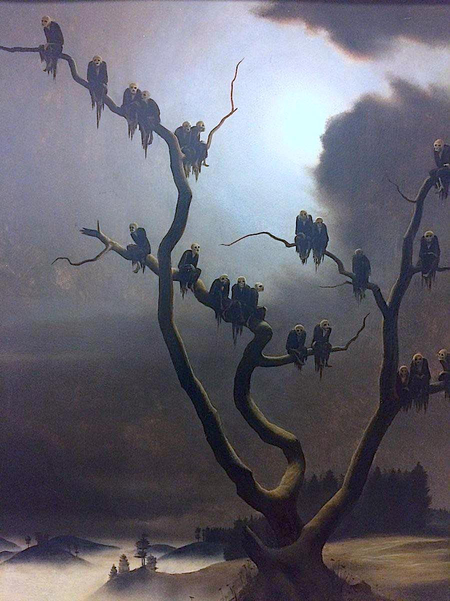 a Franz Sedlacek painting of death figure vultures in a tree