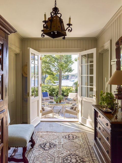 One story, one bedroom harbor-front cottage in Maine. By G.P. Schafer Architect.