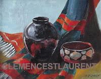 Poncho, vase et bol laqué mexicains, tableau à l'huile 8 x 10 1960 - par Clémence St-Laurent