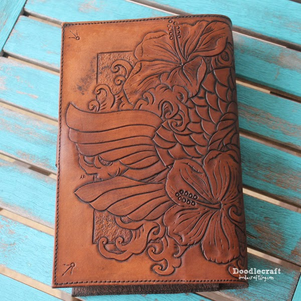 Doodlecraft Leather Tooled Book Cover With Koi And Hibiscus
