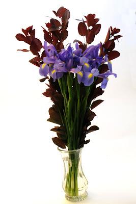 iris and cotinus bouquet