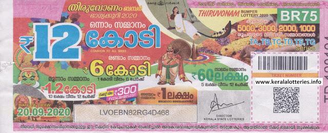 Next Kerala Lottery Bumper: Thiruvonam Bumper 2020 BR-75 | 29.09.2020