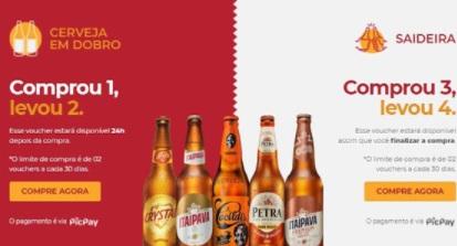 Cerveja em Dobro ou Saideira Grupo Petrópolis - Itaipava, Crystal, Petra e Cacildes