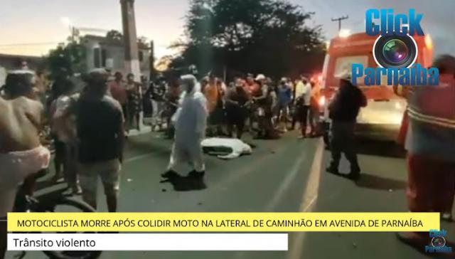 Colisão entre caminhão e motocicleta deixa homem morto em Parnaíba