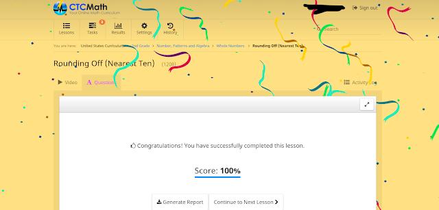 CTCMath getting 100% on questions - confetti