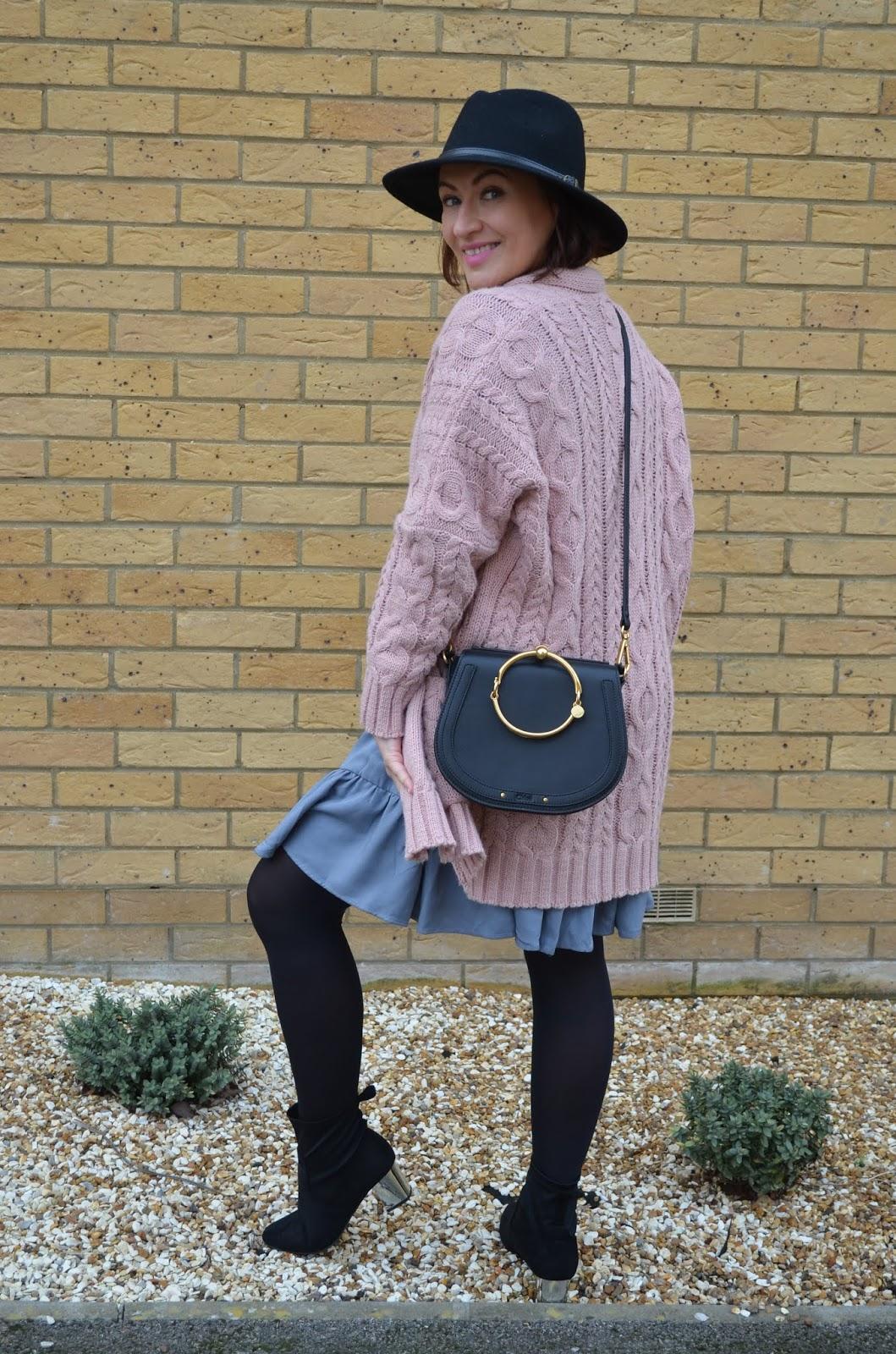 Adriana Style Blog, Blog modowy, bonprix dress, Casual Dust Blue Dress, Chloe Nile Bag, Fashion, Niebieska Sukienka, Botki, moda, Shirt Dress, Sukienka bonprix, Sukienka na każdą okazję, Boots, Skirt Dress