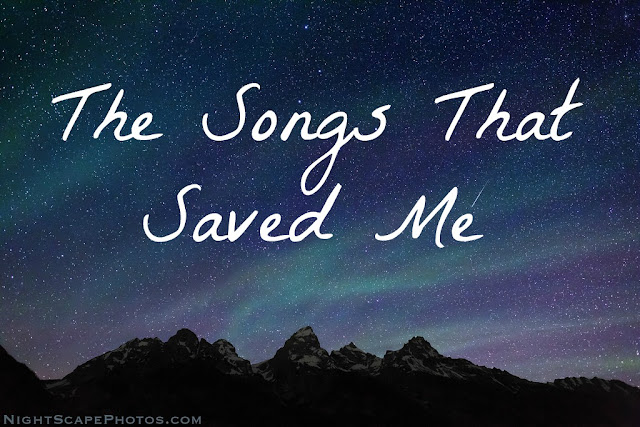 """The Songs That Saved Me"" text on starry night sky background"