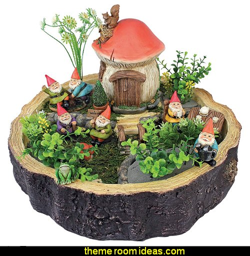 Garden Gnome Statue - Tiny Forest Friends - Gnome House - Fairy Garden - Gnome Village