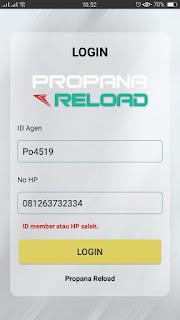 Salah ID Agen dan Nomor HP Terdaftar Propana Reload